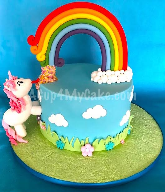 Unicorn And Sprinkle Rainbow Cake Acup4mycake